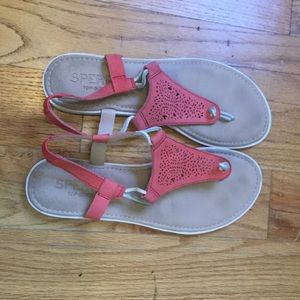Pink Sperry sandals - perfect for summer walking!